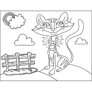 Cat with Necklace coloring page