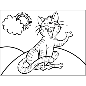 Caterwauling Striped Cat coloring page