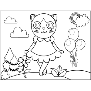 Curtsying Kitty coloring page