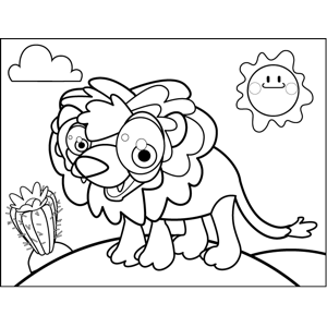 Cute Happy Lion coloring page