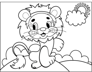 Cute Lion coloring page