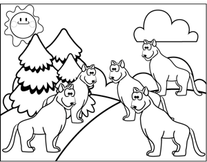 Cute Lionesses coloring page