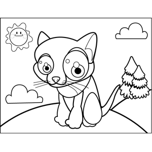 Cute Sitting Cat coloring page