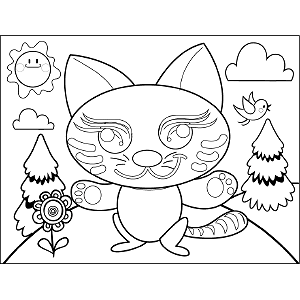 Elaborate Cat coloring page