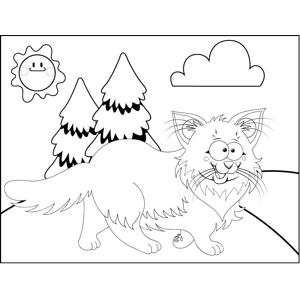 Fluffy Walking Cat coloring page