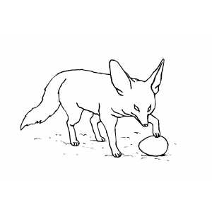 Fox Playing With Egg coloring page