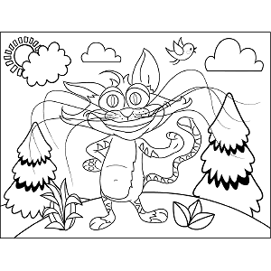 Grinning Cat coloring page