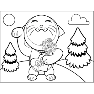 Happy Cat with Chocolates coloring page