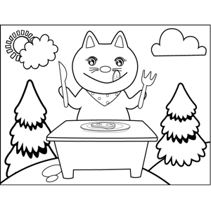 Hungry Cat Eating Steak coloring page