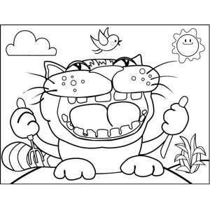Hungry Cat Hunting Bird coloring page