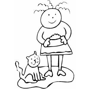 Kid Feeding Cat coloring page