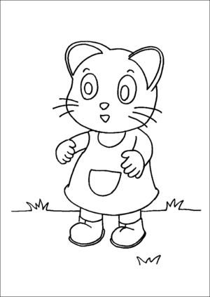 Kitten In Boots And Apron coloring page