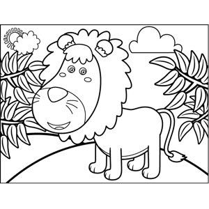 Lion in Jungle coloring page