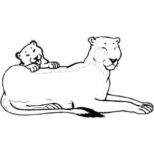 Lioness And Club coloring page