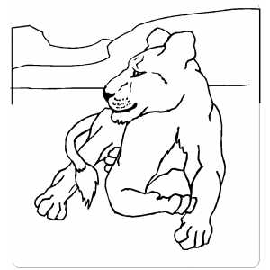 Lying Lion coloring page