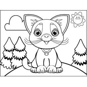 Meowing Kitty coloring page