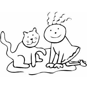 Playing Cat coloring page