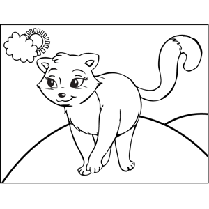 Pretty Walking Cat coloring page