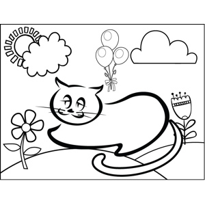 Relaxing Cat coloring page