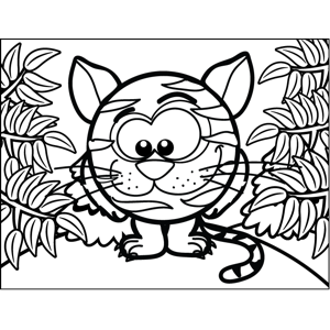 Round Striped Cat coloring page