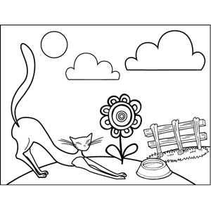 Stretching Cat coloring page