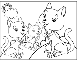 Three Cats coloring page