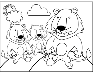 Three Lions coloring page