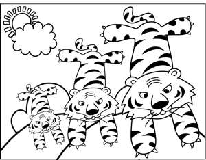 Three Tigers coloring page