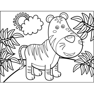 Tiger in Jungle coloring page