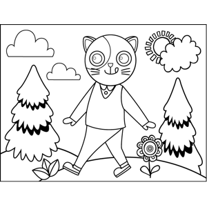 Walking Cat in Sweater Vest coloring page