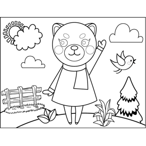 Waving Cat in Scarf coloring page