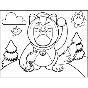 Winking Cat coloring page