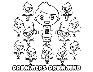 12 Drummers Drumming coloring page