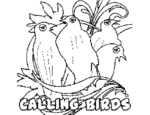 4 Calling Birds coloring page