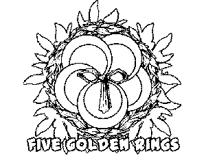 5 Golden Rings coloring page