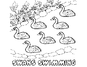 7 Swans-A-Swimming coloring page