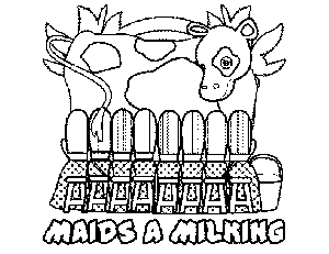 8 Maids-A-Milking coloring page