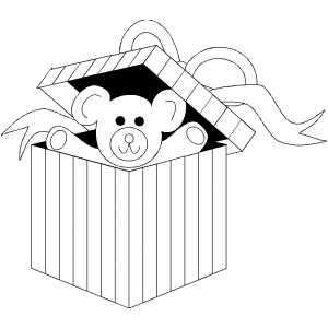 Bear In Present Box coloring page