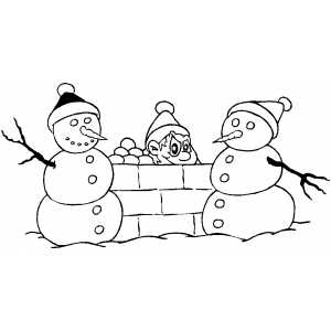 Boy And Snowmen coloring page