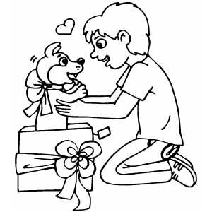 Boy Gets Puppy Gift coloring page