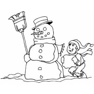Boy Making Snowman Hand coloring page
