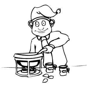 Boy Serving Drinks coloring page