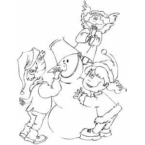 Children Finishing Snowman coloring page