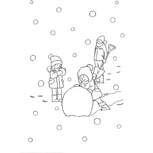 Children Make Snowball Snowman coloring page