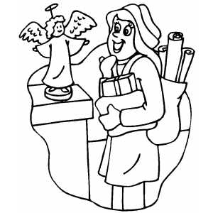 Christmas Shopping coloring page
