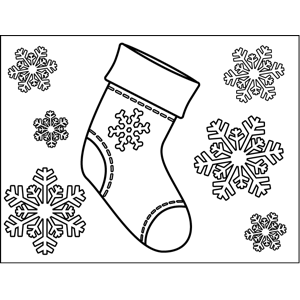 Christmas Stocking with Snowflakes coloring page