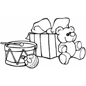 Drum Bear And Gift coloring page