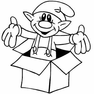 Elf In Box coloring page