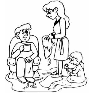 Family Opening Gifts coloring page