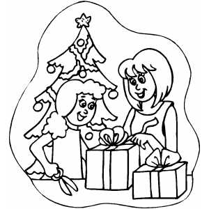 Family Wrapping Gifts coloring page